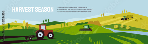Obraz Harvest season and agriculture concept. Farm landscape, panoramic scenery of countryside in autumn. Vector illustration of tractors, plowing land, combine harvester and hayfield with haystack rolls. - fototapety do salonu