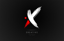 Brush Stroke Letter X Logo Alphabet Icon Design Template In White And Red For Business