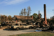 San Diego Wildfires:  The Witch Fire Devastation In The San Diego, California Community Of Rancho Bernardo