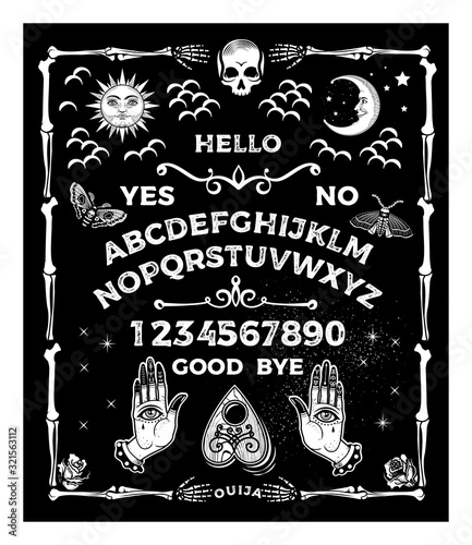 Fotografie, Tablou Ouija Board with the skull. Occultism Set. Vector Illustration.
