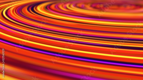 Glowing Neon Light Rings Circle Around Abstract Blurred Copyspace - Abstract Background Texture