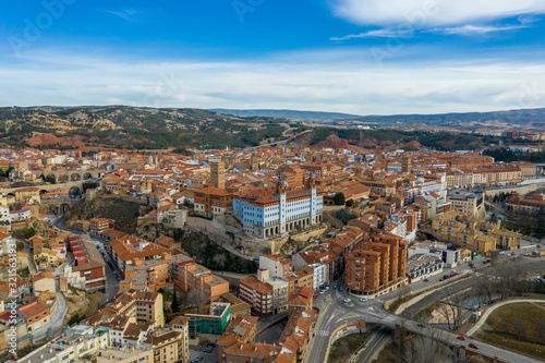 Obraz na plátne Aerial panoramic view of Teruel Spain with medieval city walls, viaduct, aquaduc