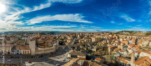 Fotografie, Obraz Aerial panoramic view of Teruel Spain with medieval city walls, viaduct, aquaduc