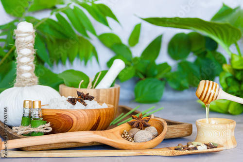 Tray with set for relaxing spa thai treatments Canvas Print