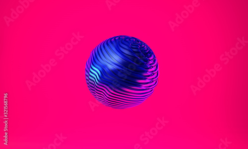 Abstract 3d graphic object on bright magenta background