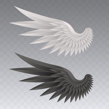 Realistic Bird Wings With Sharp Feathers Isolated On Transparent Background. Angel Wing In White And Black Colors. Elements For Your Design. Vector Illustration.
