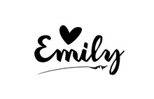 Emily Name Text Word With Love Heart Hand Written For Logo Typography Design Template