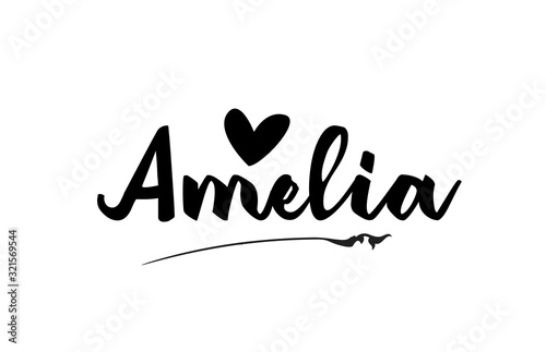 Amelia name text word with love heart hand written for logo typography design te Wallpaper Mural