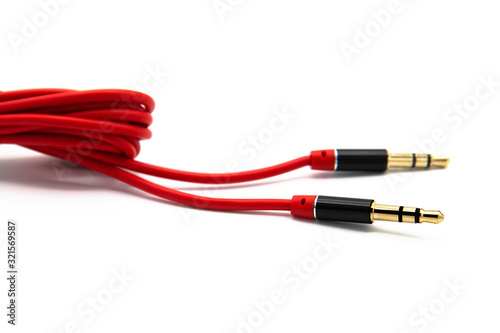 Red audio cable aux isolated on white background Canvas Print