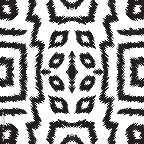 Black and White Abstract Carpet Vector Seamless Pattern. Psychedelic Ikat Japan Wallpaper. Uzbek Watercolor Print. Black and White Chevron Indonesian Vector Seamless Pattern