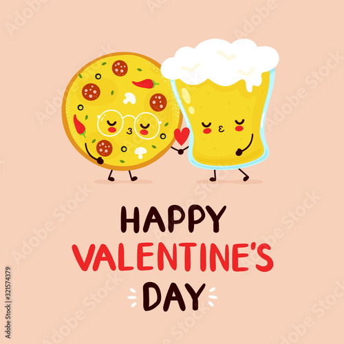 Canvas Cute happy pizza and beer glass couple