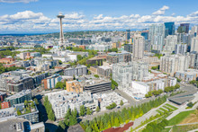 Aerial Footage Of The Belltown District In Seattle