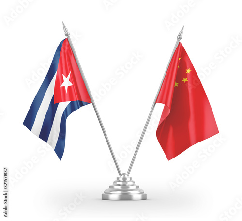 China and Cuba table flags isolated on white 3D rendering Wallpaper Mural