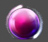 Vector realistic violet glass sphere transparent