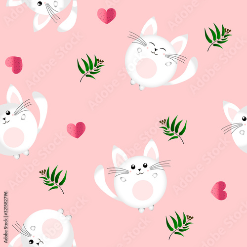 Pattern with a kitten and green branch on a pale pink background. Love for cat, you are in our hearts. Vector children's illustration.