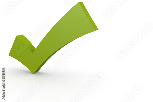 Photo Green check mark isolated on white background