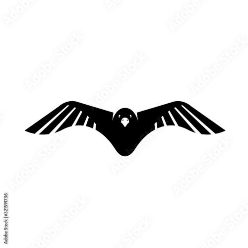Canvastavla flying black crow raven logo design vector sign illustrations