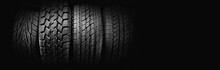 Car Tires On Black Background ...