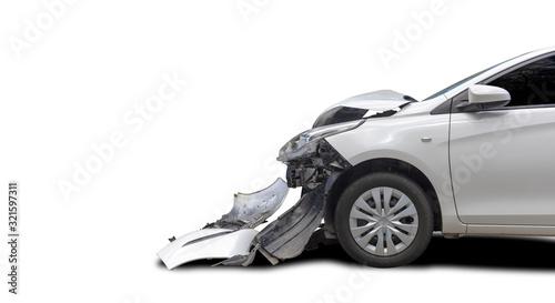 Obraz na plátně Front of white color car big damaged and broken by accident