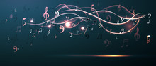 Music Background Abstract Music Notes And Musical Key. Fun Concept.