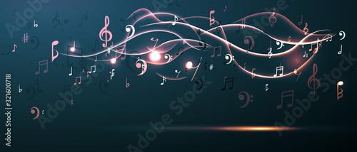Music background abstract music notes and musical key Billede på lærred