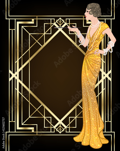 Fototapeta Female hand holding cocktail glass with splash. Art deco 1920s style vintage invitation template design for drink list, bar menu, glamour event, thematic wedding, jazz party flyer. Vector art. obraz