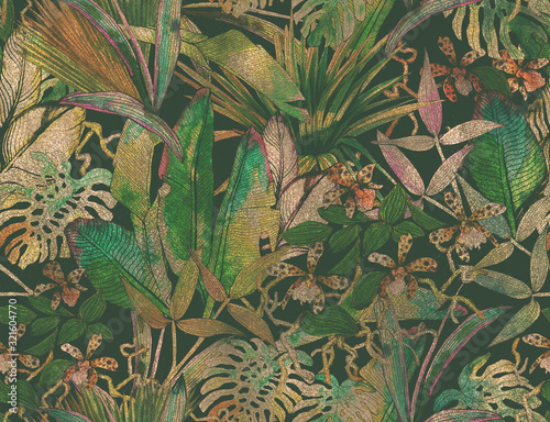 Cuadros en Lienzo Tropical seamless pattern with tropical flowers, banana leaves.
