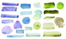 .Set Of Blue, Purple, Green Wa...