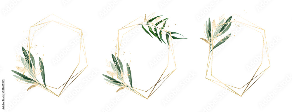 Fototapeta Three golden frames decorated with watercolor floral elements