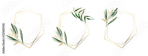 Obraz Three golden frames decorated with watercolor floral elements - fototapety do salonu