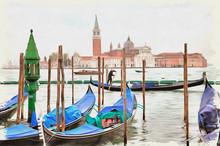 Venice Morning. Island Of San Giorgio Maggiore. Imitation Of A Picture. Oil Paint. Illustration