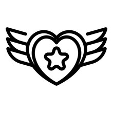 Tattoo Star Wings Heart Icon. Outline Tattoo Star Wings Heart Vector Icon For Web Design Isolated On White Background