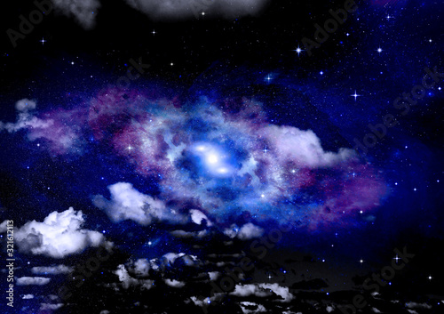 Fototapety, obrazy: galaxy in a free space. 3D rendering
