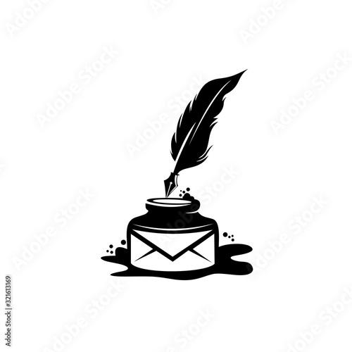 Fotografie, Obraz quill icon, Ink bottle and quill pen vector design, Emblem design on white backg