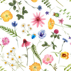 Naklejka Do kuchni Beautiful floral summer seamless pattern with watercolor hand drawn field wild flowers. Stock illustration.