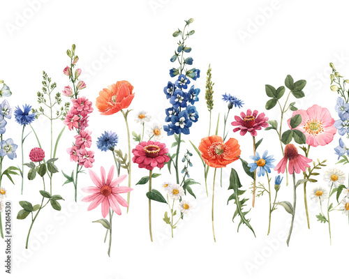 Beautiful floral summer seamless pattern with watercolor hand drawn field wild flowers. Stock illustration. - 321614530