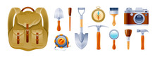 Cartoon Set. Archeology, Geology, Climb, Expedition Icons. Realistic Vintage Equipment, Instrument, Tool Backpack, Photo Camera, Brush, Pickaxe, Shovel, Compass. Vector Illustration Isolated On White