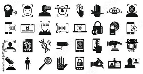 Biometric authentication icons set Wallpaper Mural