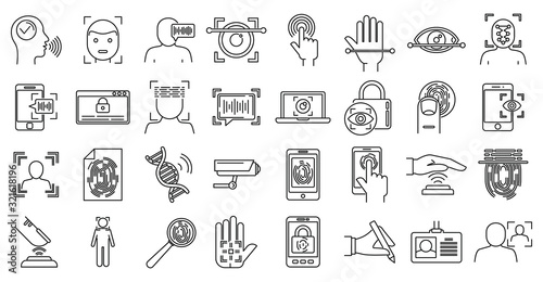 Photo Modern biometric authentication icons set