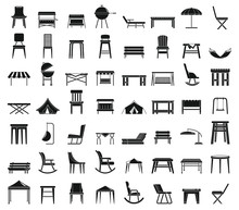 Home Garden Furniture Icons Set. Simple Set Of Home Garden Furniture Vector Icons For Web Design On White Background