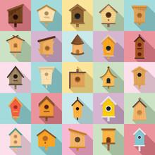 Bird House Icons Set. Flat Set Of Bird House Vector Icons For Web Design