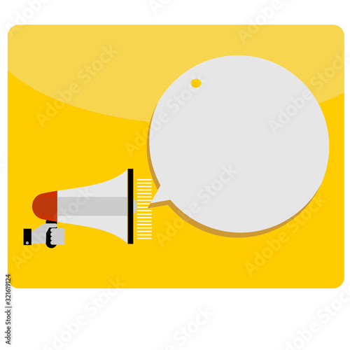 Fotomural Hand holding megaphone with bubble speech