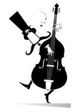 Funny Mustached Man In The Top Hat Performing Music On Contrabass Black On White Illustration