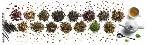 Fotomural Large assortment of tea on a white background