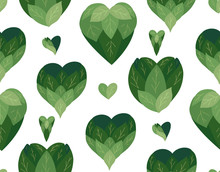 Seamless Flat Pattern With Doodle Hearts From Leaves On A White Background. Natural Love. Save Nature. Vector Eco Texture For Wallpapers, Fabrics And Your Creativity.