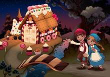 Hansel And Gretel Near The Can...