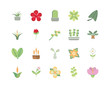 flower foliage decoratiopn natural floral botanical icons set