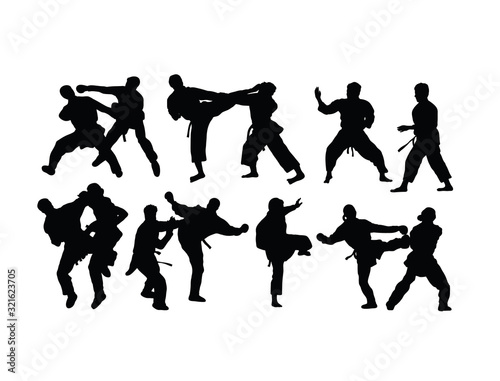 Karate Sport Silhouettes, art vector design Canvas Print