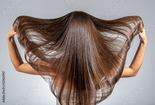 Back view of a brunette woman with a long straight hair.