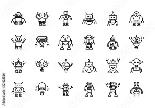 robot technology character artificial machine icons set linear Canvas Print